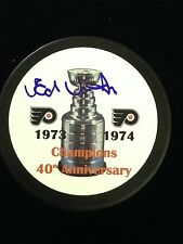 ED VAN IMPE FLYERS AUTOGRAPHED 40TH ANNIVERSARY STANLEY CUP PUCK W/COA
