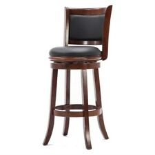 Fast Furnishings Cherry 29-inch Solid Wood Bar Stool with Faux Leather Swivel...