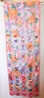 """VINTAGE PIERRE CARDIN PARIS SILK ? SCARF 59"""" x 17"""" Pink Florals Sheer Strips 90s"""