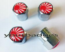 Chrome Metal Japanese Rising Sun Flag Car Valve Caps Tyre Dust Caps Japan Mazda