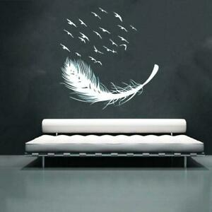 Large Feather Wall Art Sticker Birds Vinyl Decal Living Room Bedroom Home Decor