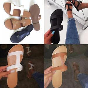 Womens Ladies Slip On Flat Sandals Slippers Holidays Casual Slidders Beach Shoes