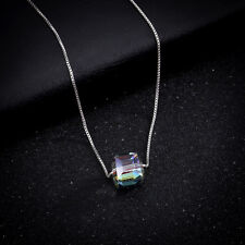 New Women Charm Crystal Square Stone Aurora Pendant Silver Chain Alloy Necklace
