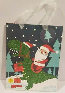 "Santa Riding Green T-Rex Glitter Dinosaur Novelty Christmas Gift Bag 9""x7""x4"""
