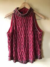 Vintage Beaded Sequin Tank Top Red High Neck Indian