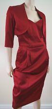 KYRI LONDON Burgundy Red Satin Look Evening Bandeau Boned Dress & Jacket Suit