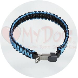 Herm Sprenger Black and Blue Reflecting Paracord Dog Collar