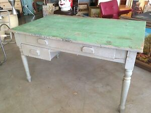 VINTAGE FARM DESK INDUSTRIAL RUSTIC SHABBY CHIC TABLE