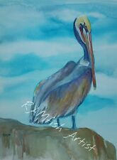 Purple Pelican Original Watercolor Painting~ RAMfish Artist Sea Bird