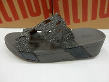 FitFlop Womens Elora Crystal Slides Pewter 10