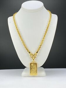 """9999 24k Solid Gold 5oz Anchor Chain Link With 1oz PAMP Charm Set 196.8 Gram 24"""""""