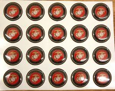 US MARINE CORP LOGO SEAL Epoxy Stickers 1 inch round 4 Bottle Cap Craft Projects