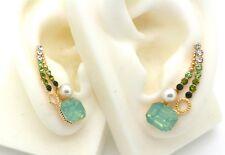 New Ear Cuff Pins Trail Upward Pair Earrings Gold Plated Austrian Crystal Green