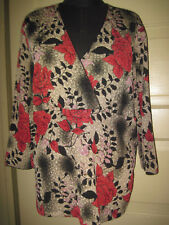 EAST 5TH 3/4 Sleeve Red Floral V-Neck Top Shirt Blouse XL