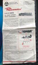 1968 AHM RIVAROSSI LOCOMOTIVE MODEL TRAIN FLYER & REGISTRATION RECORD