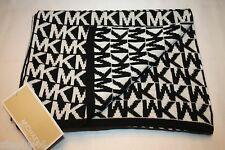 NEW! NWT! MICHAEL KORS Reversible Signature MK Logo Black White Muffler Scarf