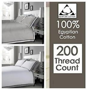 Egyptian Cotton 200TC MF WHITE BLACK GREY Duvet Cover Set Double King Superking