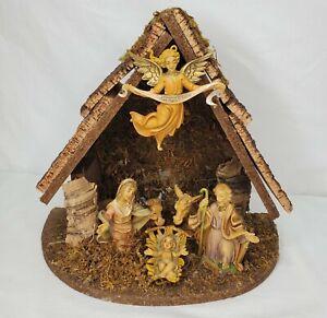 Vintage Fontanini Nativity Creche Stable Jesus Angel Mary Joseph Cows Italy