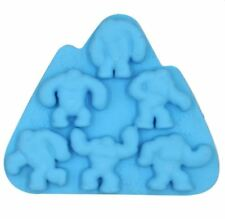 Silicone Ice Tray Cool Snowmen Caveman Ice Cube Freeze Maker Ice Mold (Blue)