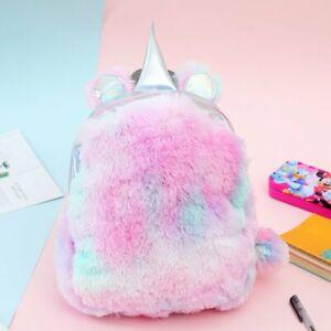 Fashion Soft Cute Mini Unicorn Backpack Rainbow Plush School Bag Girls Backbag D