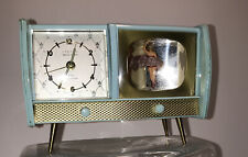 Rare Linden Black Forest Jewel Musical Alarm Clock Shaped Like A TV 1950-60s