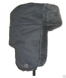MENS RUSSIAN FAUX FUR TRAPPER HAT Grey Cossack Gents medium winter Ushanka