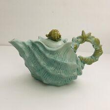 Blue Sky Clayworks Ceramic Shell Seashell Figural Teapot with Lid Aqua Blue
