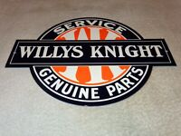 """VINTAGE WILLYS KNIGHT GENUINE PARTS & SERVICE 12"""" METAL JEEP GASOLINE & OIL SIGN"""
