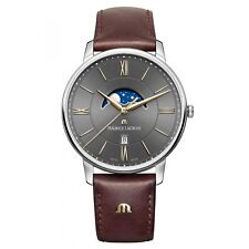 Maurice Lacroix Eliros Moonphase Quartz Watch Grey 40mm Leather Strap