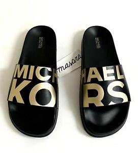 Women Michael Kors MK Gilmore Slide Slip On Sandals PU Black/Gold