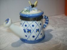 Porcelain Watering Can Trinket Box With A Butterfly On Top