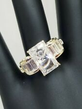 QVC Erica Courtney Sterling Silver 6ct Baguette Engagement Bridal Ring Size 8