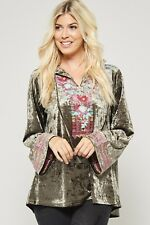 Andree by Unit Velvet Embroidered Hoodie Sweater Boutique Top S,M,L NWT SALE