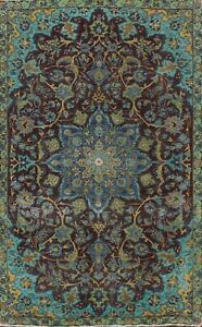 Antique Distressed Overdyed Floral Oriental Area Rug Handmade Wool Carpet 6x9 ft