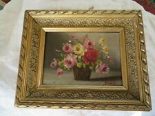 peinture bouquet de fleur rose peint sur paneau signé