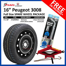 "PEUGEOT 3008 2008-2017 16"" FULL SIZE STEEL SPARE WHEEL AND TYRE FREE TOOL KIT"