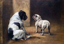 "Edgar Hunt, Bulldogs, Dog, Antique home decor, 16""x11"" Art"