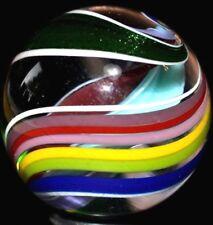 "JODY FINE HANDMADE GLASS MARBLE/1.320""-TRIANGLE SOLID CORE-BOULDER-GREEN LUTZ"
