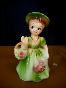 Vintage Figurine Girl With Basket Green Dress Flowers Hat Made in Japan
