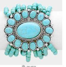 Turquoise Silver Stretch MUlti Layered Blue Cuff Wide Bracelet Costume Statement