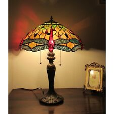 Tiffany Style Table Lamp Red Dragonfly Stained Glass Beige Amber 3 Light Shade