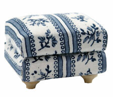 Blue & White Flower Patterned Cushioned Footstool, Dolls House Miniature