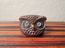 Owl Eyes Rhinestones Ring sz 7-3/4