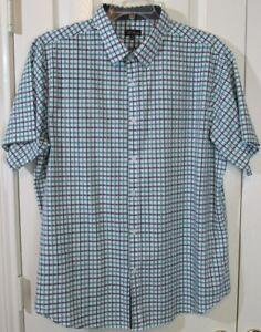 Galaxy by Harvic Men's SS 100% Cotton Green & Black Plaid Shirt, XXL