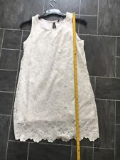 DOROTHY PERKINS SIZE 14 CREAM/IVORY FLORAL LACE SLEEVELESS DRESS