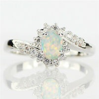 Women Beautiful White Fire Opal 925 Silver Wedding Engagement Ring Gift Muse