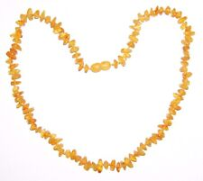 Raw unpolished Baltic amber adult necklace, honey color beads 45 cm / 17.72 inch
