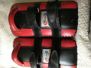 "Fairtex Standard Muay Thai Kick Pads Red Used 16"" Martial Arts"