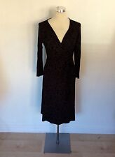 LK BENNETT BLACK & BEIGE FLOWER PRINT 3/4 SLEEVE WRAP DRESS SIZE 10