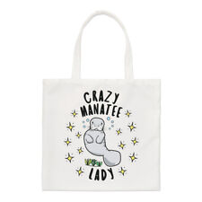 Crazy Manatee Lady Stars Small Tote Bag - Funny Animal Shoulder